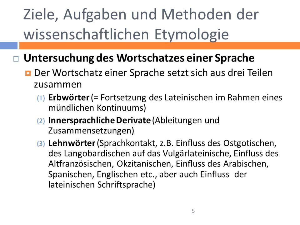Ziele, Aufgaben und Methoden der wissenschaftlichen Etymologie Untersuchung des Wortschatzes einer Sprache Der Wortschatz einer Sprache setzt sich aus
