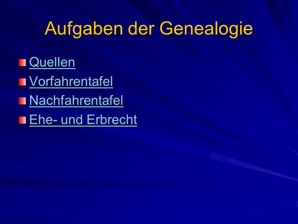 Aufgaben der Genealogie Quellen Vorfahrentafel Nachfahrentafel Ehe- und Erbrecht Ehe- und Erbrecht