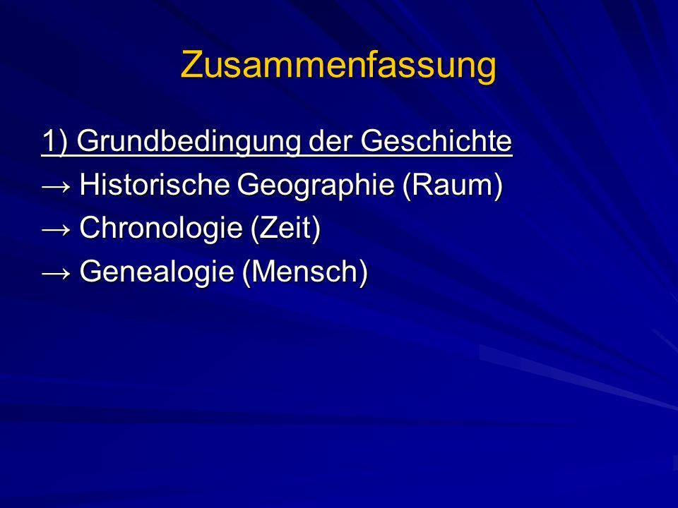 Zusammenfassung 1) Grundbedingung der Geschichte Historische Geographie (Raum) Historische Geographie (Raum) Chronologie (Zeit) Chronologie (Zeit) Genealogie (Mensch) Genealogie (Mensch)