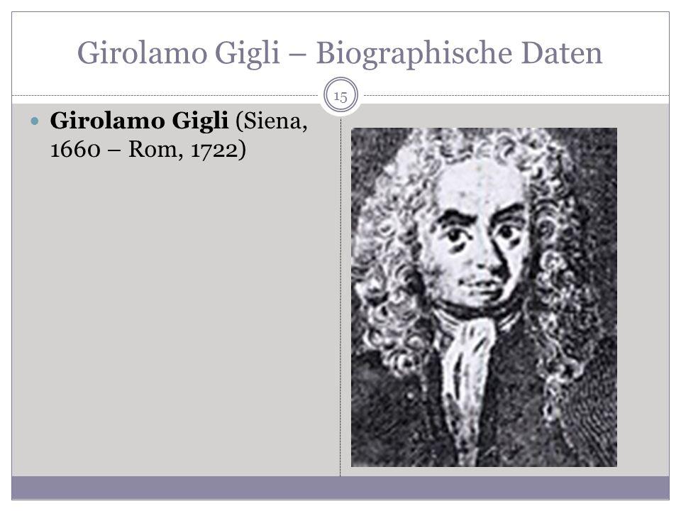 Girolamo Gigli – Biographische Daten Girolamo Gigli (Siena, 1660 – Rom, 1722) 15