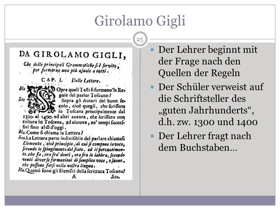 Girolamo Gigli Der Lehrer beginnt mit der Frage nach den Quellen der Regeln Der Schüler verweist auf die Schriftsteller des guten Jahrhunderts, d.h. z