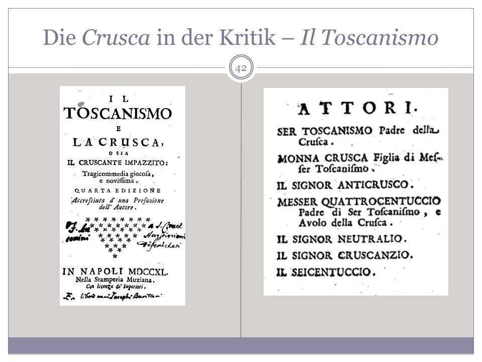 Die Crusca in der Kritik – Il Toscanismo 42