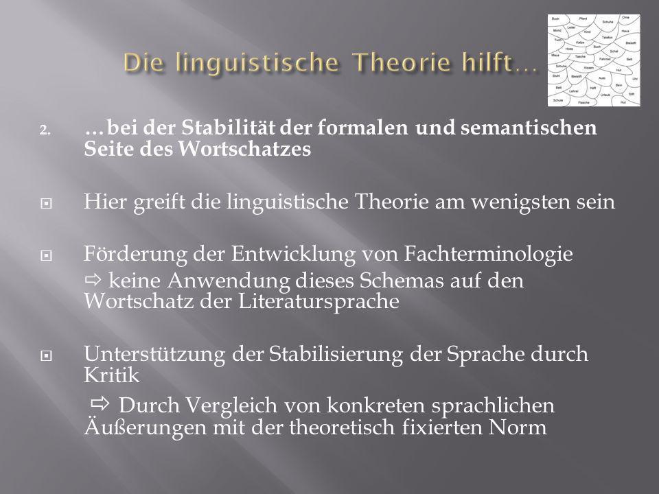 2. …bei der Stabilität der formalen und semantischen Seite des Wortschatzes Hier greift die linguistische Theorie am wenigsten sein Förderung der Entw