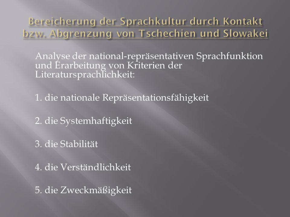Analyse der national-repräsentativen Sprachfunktion und Erarbeitung von Kriterien der Literatursprachlichkeit: 1. die nationale Repräsentationsfähigke