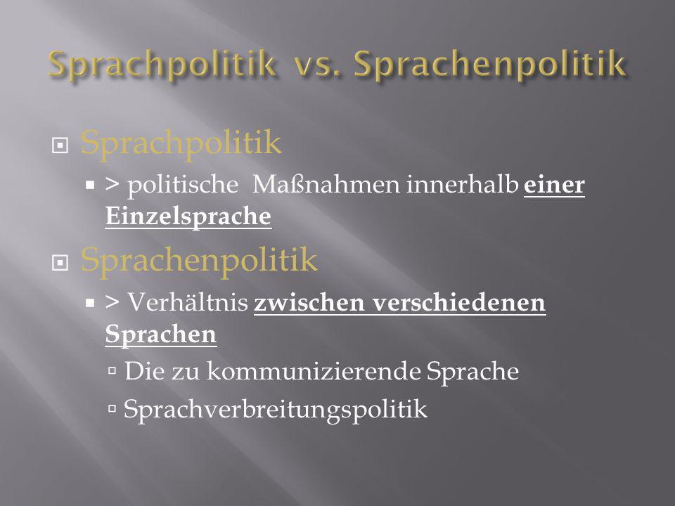 Sprachpolitik > politische Maßnahmen innerhalb einer Einzelsprache Sprachenpolitik > Verhältnis zwischen verschiedenen Sprachen Die zu kommunizierende