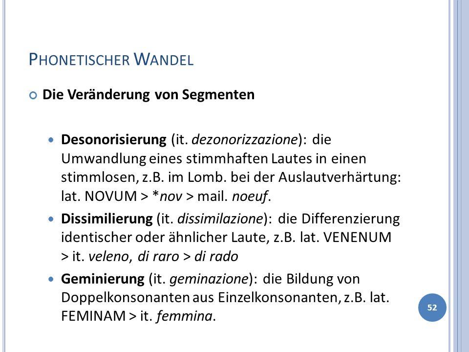 P HONETISCHER W ANDEL Die Veränderung von Segmenten Desonorisierung (it. dezonorizzazione): die Umwandlung eines stimmhaften Lautes in einen stimmlose