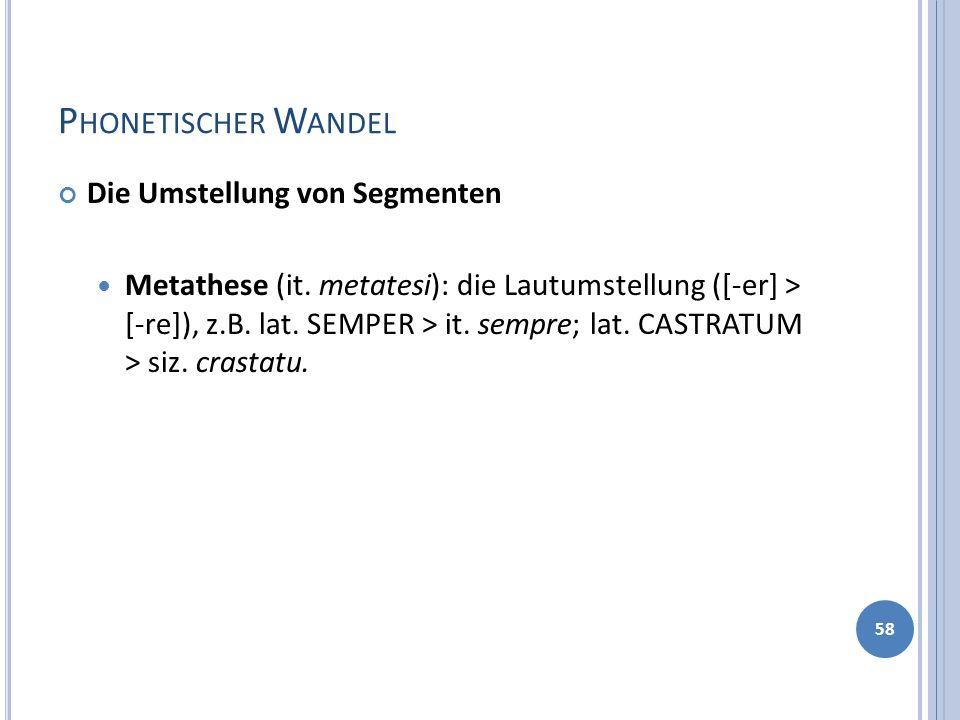P HONETISCHER W ANDEL Die Umstellung von Segmenten Metathese (it. metatesi): die Lautumstellung ([-er] > [-re]), z.B. lat. SEMPER > it. sempre; lat. C