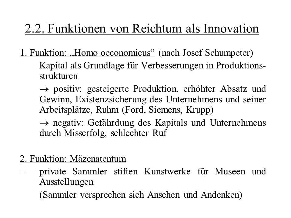 2.2. Funktionen von Reichtum als Innovation 1. Funktion: Homo oeconomicus (nach Josef Schumpeter) Kapital als Grundlage für Verbesserungen in Produkti