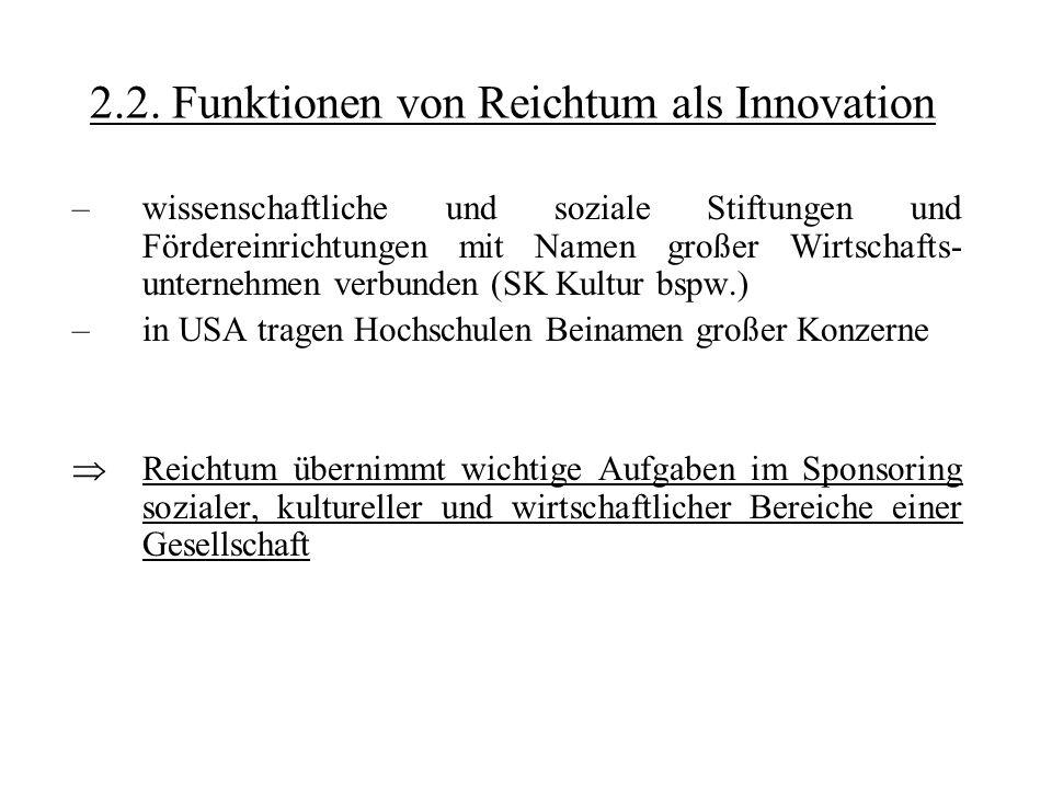 2.2. Funktionen von Reichtum als Innovation –wissenschaftliche und soziale Stiftungen und Fördereinrichtungen mit Namen großer Wirtschafts- unternehme