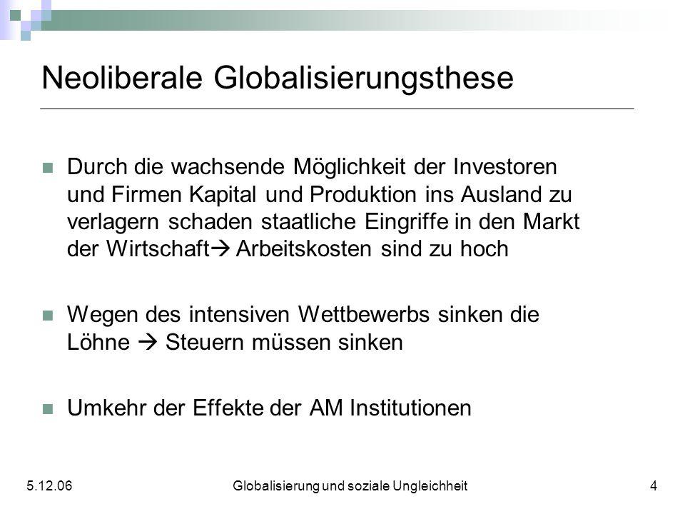 Neoliberale Globalisierungsthese Durch die wachsende Möglichkeit der Investoren und Firmen Kapital und Produktion ins Ausland zu verlagern schaden sta