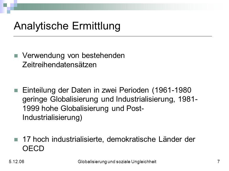 Analytische Ermittlung Verwendung von bestehenden Zeitreihendatensätzen Einteilung der Daten in zwei Perioden (1961-1980 geringe Globalisierung und In