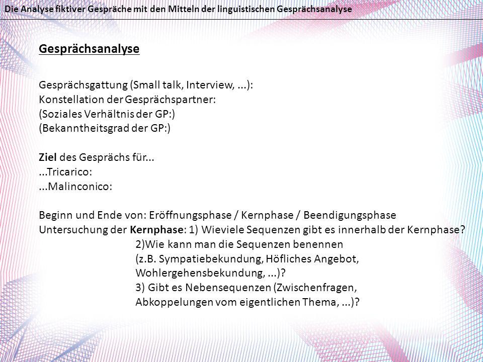 Gesprächsanalyse Gesprächsgattung (Small talk, Interview,...): Konstellation der Gesprächspartner: (Soziales Verhältnis der GP:) (Bekanntheitsgrad der