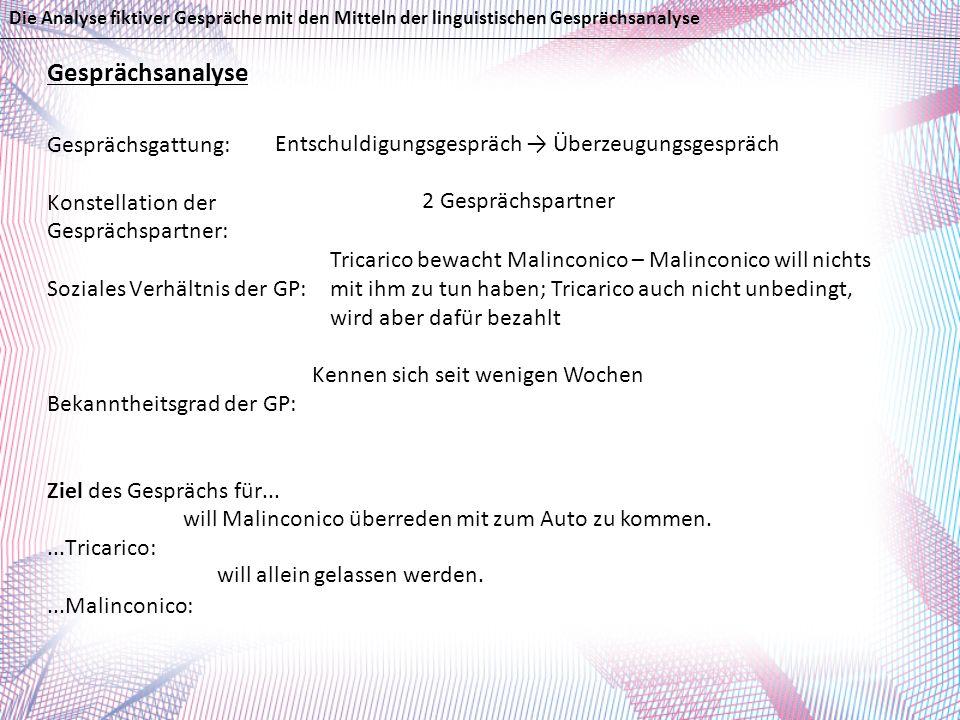 Gesprächsanalyse Gesprächsgattung: Konstellation der Gesprächspartner: Soziales Verhältnis der GP: Bekanntheitsgrad der GP: Ziel des Gesprächs für....