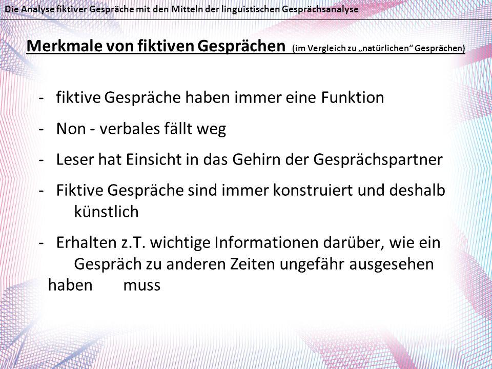 Literaturverzeichnis: - Brinker, K.; Sager, S.F.: Linguistische Gesprächsanalyse.