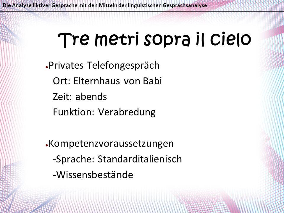 Tre metri sopra il cielo Privates Telefongespräch Ort: Elternhaus von Babi Zeit: abends Funktion: Verabredung Kompetenzvoraussetzungen -Sprache: Stand