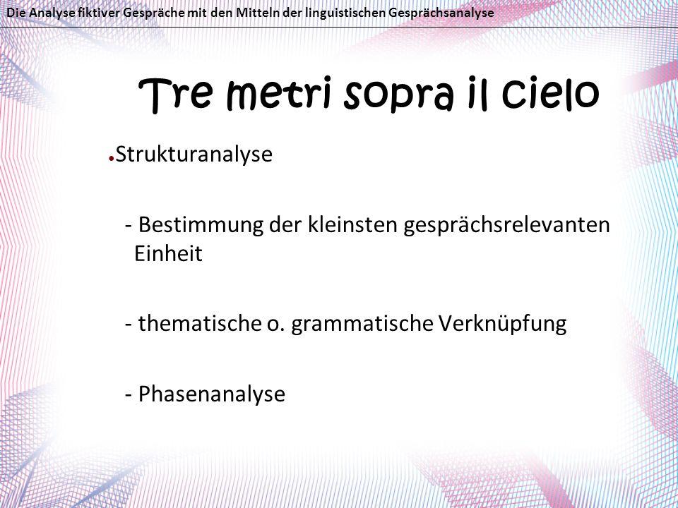 Tre metri sopra il cielo Strukturanalyse - Bestimmung der kleinsten gesprächsrelevanten Einheit - thematische o. grammatische Verknüpfung - Phasenanal
