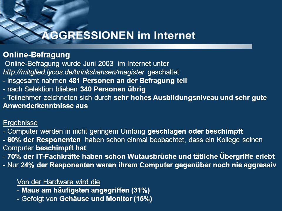 Online-Befragung Online-Befragung wurde Juni 2003 im Internet unter http://mitglied.lycos.de/brinkshansen/magister geschaltet - insgesamt nahmen 481 P