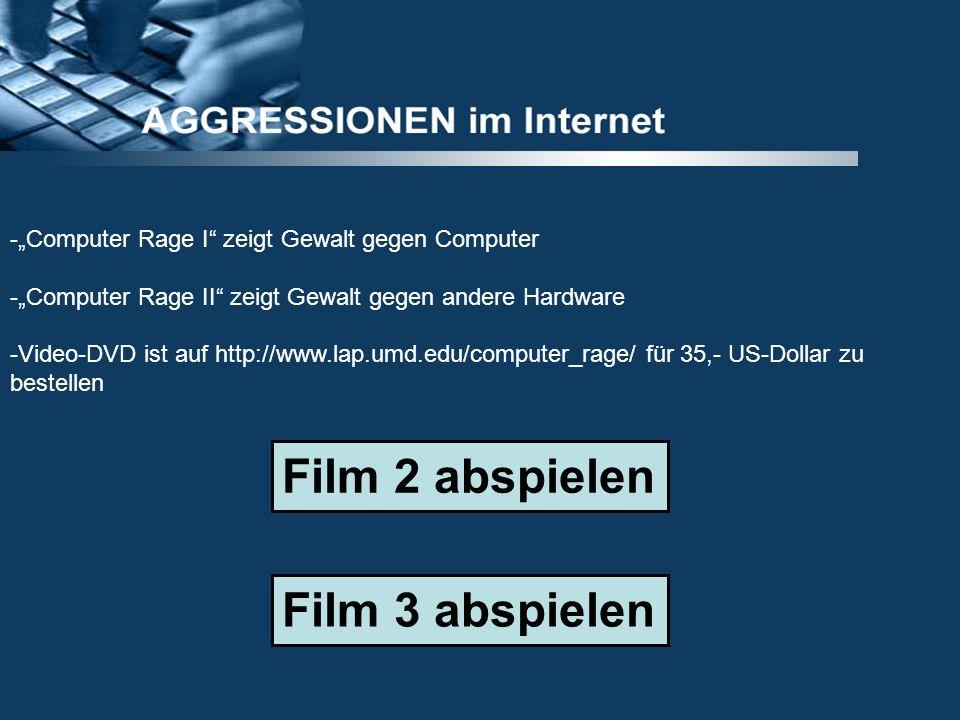 -Computer Rage I zeigt Gewalt gegen Computer -Computer Rage II zeigt Gewalt gegen andere Hardware -Video-DVD ist auf http://www.lap.umd.edu/computer_r