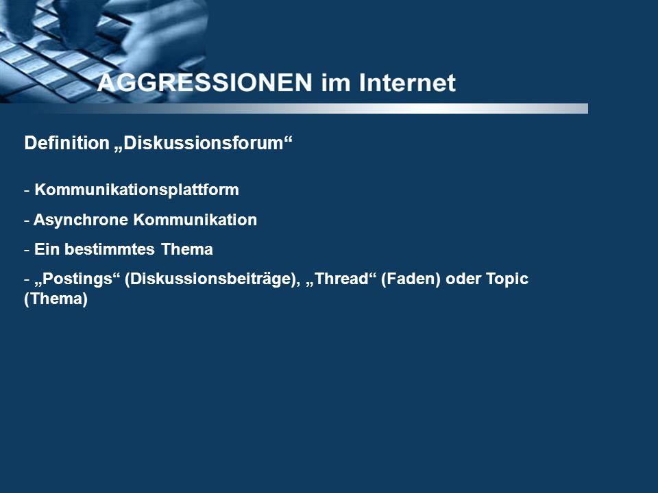 Definition Diskussionsforum - Kommunikationsplattform - Asynchrone Kommunikation - Ein bestimmtes Thema - Postings (Diskussionsbeiträge), Thread (Fade