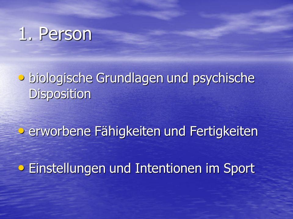 1. Person biologische Grundlagen und psychische Disposition biologische Grundlagen und psychische Disposition erworbene Fähigkeiten und Fertigkeiten e