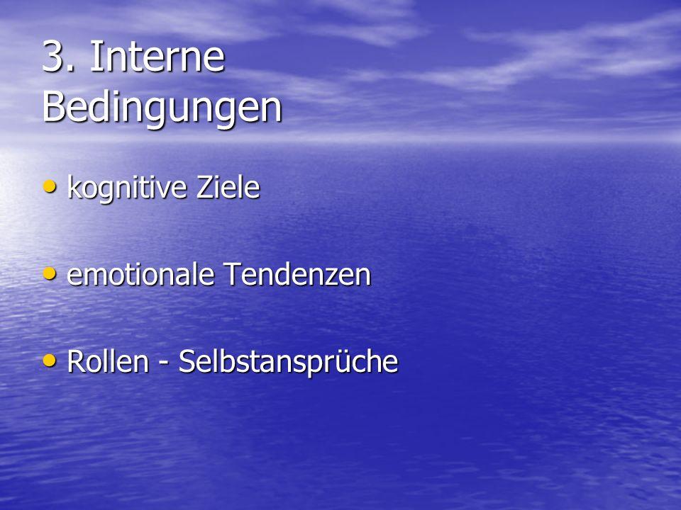 3. Interne Bedingungen kognitive Ziele kognitive Ziele emotionale Tendenzen emotionale Tendenzen Rollen - Selbstansprüche Rollen - Selbstansprüche