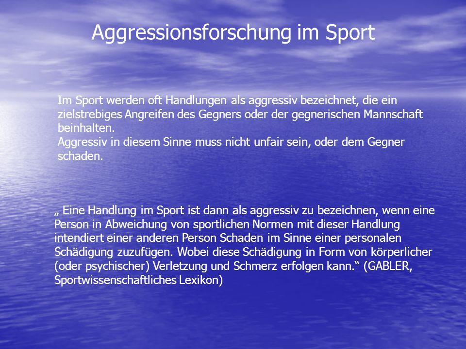 Im Sport werden oft Handlungen als aggressiv bezeichnet, die ein zielstrebiges Angreifen des Gegners oder der gegnerischen Mannschaft beinhalten. Aggr