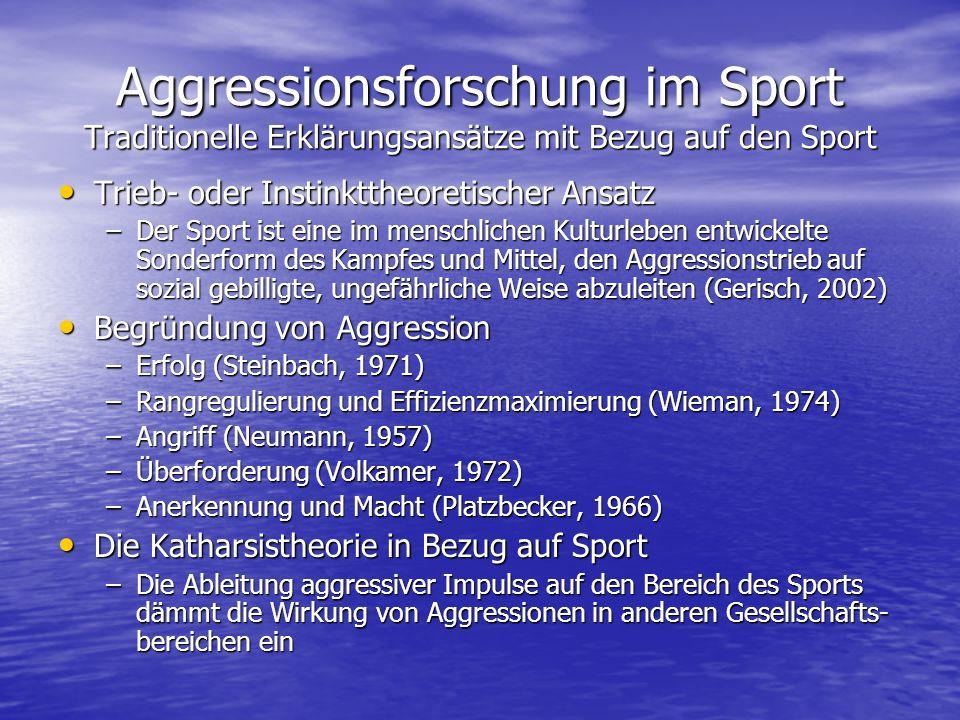 Aggressionsforschung im Sport Traditionelle Erklärungsansätze mit Bezug auf den Sport Trieb- oder Instinkttheoretischer Ansatz Trieb- oder Instinktthe