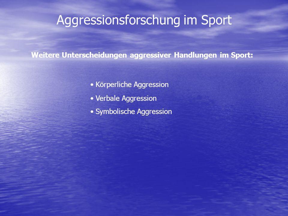 Aggressionsforschung im Sport Weitere Unterscheidungen aggressiver Handlungen im Sport: Körperliche Aggression Verbale Aggression Symbolische Aggressi