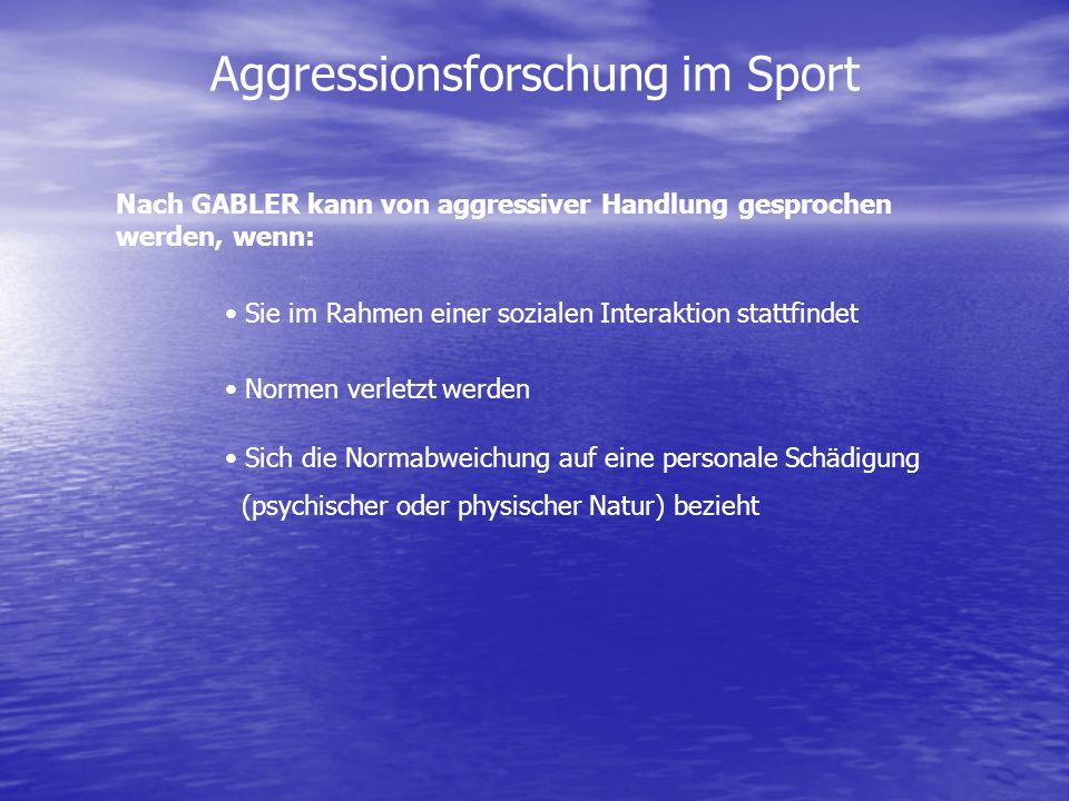 Aggressionsforschung im Sport Nach GABLER kann von aggressiver Handlung gesprochen werden, wenn: Sie im Rahmen einer sozialen Interaktion stattfindet