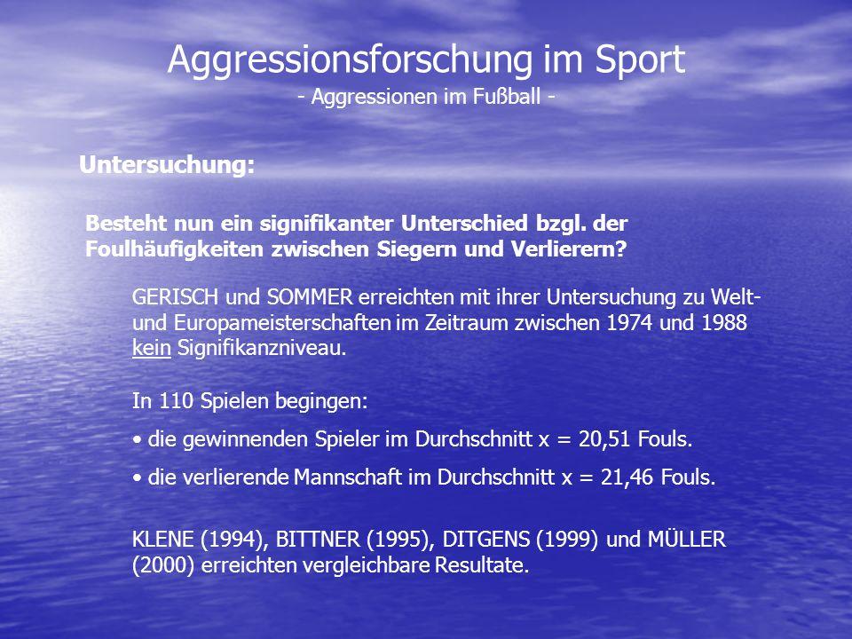 Aggressionsforschung im Sport - Aggressionen im Fußball - Besteht nun ein signifikanter Unterschied bzgl. der Foulhäufigkeiten zwischen Siegern und Ve