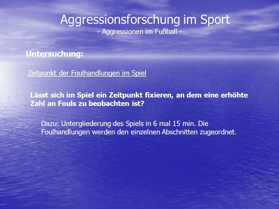 Aggressionsforschung im Sport - Aggressionen im Fußball - Zeitpunkt der Foulhandlungen im Spiel Lässt sich im Spiel ein Zeitpunkt fixieren, an dem ein