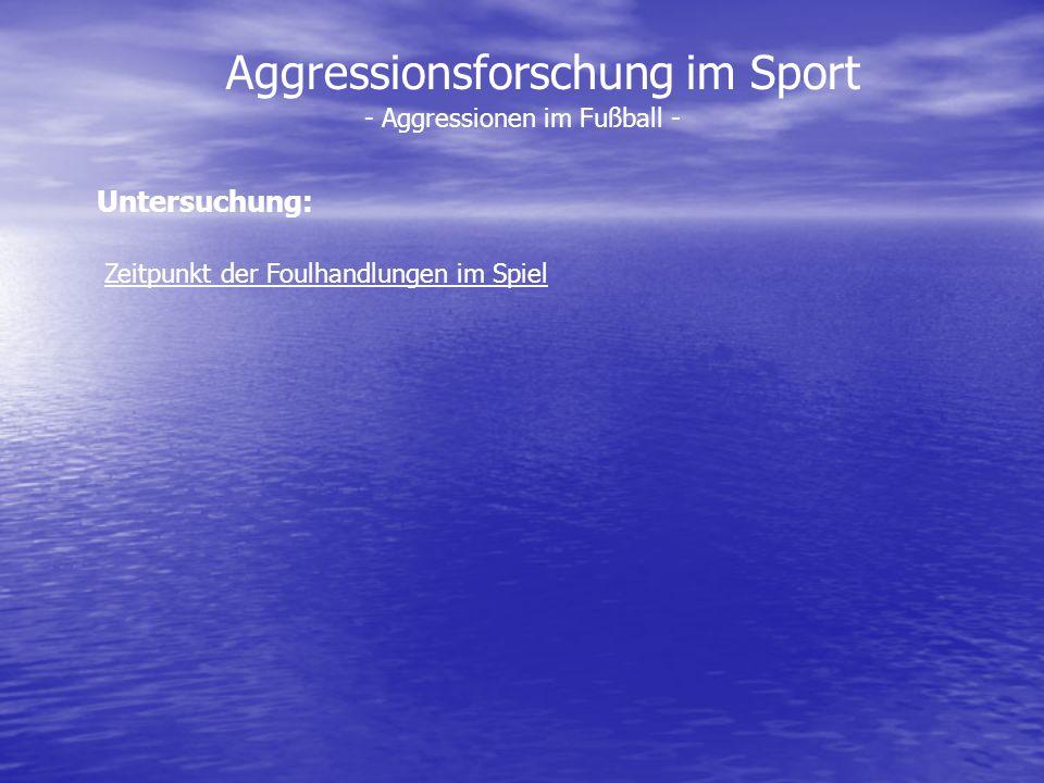 Aggressionsforschung im Sport - Aggressionen im Fußball - Zeitpunkt der Foulhandlungen im Spiel Untersuchung: