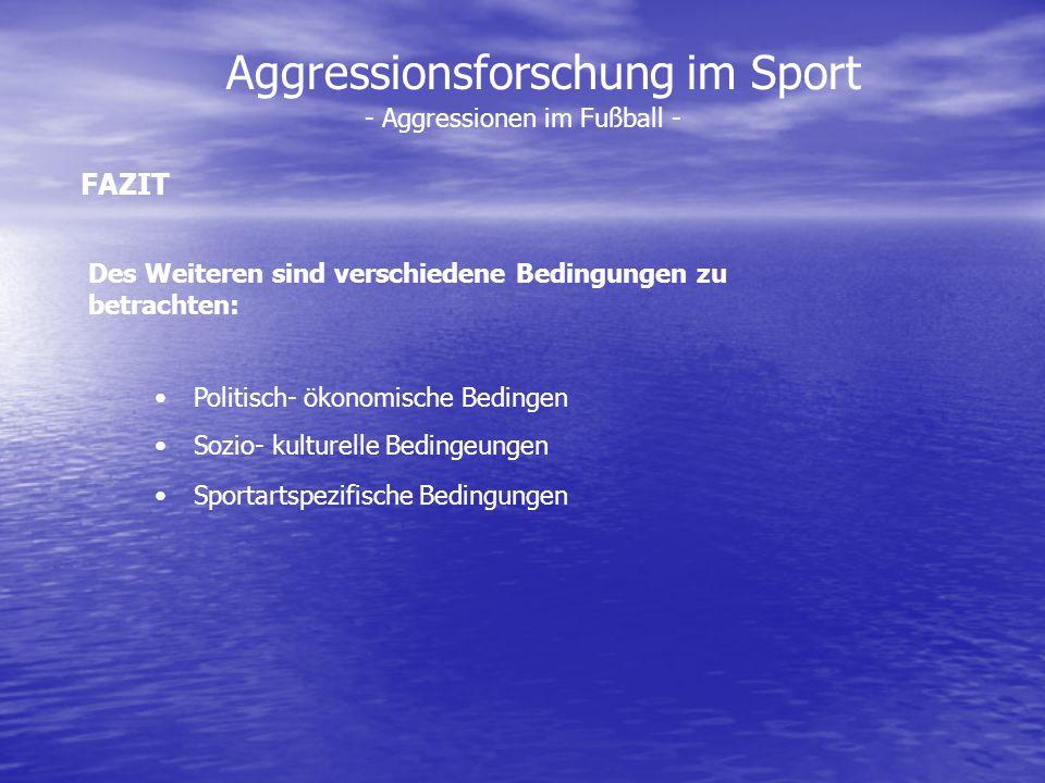 Aggressionsforschung im Sport - Aggressionen im Fußball - Des Weiteren sind verschiedene Bedingungen zu betrachten: Politisch- ökonomische Bedingen So