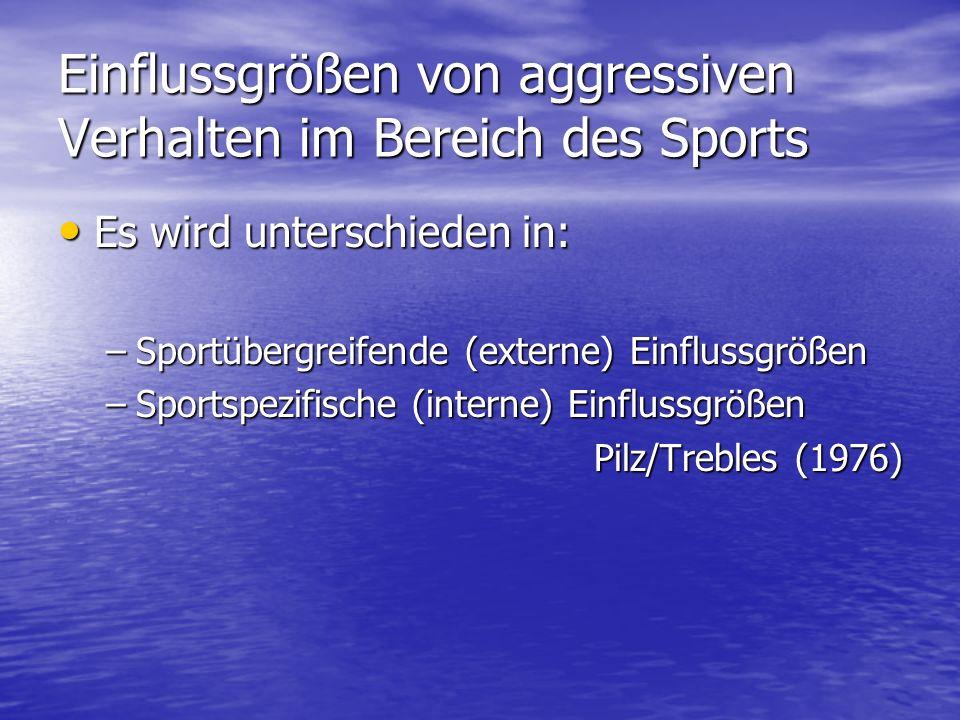 Einflussgrößen von aggressiven Verhalten im Bereich des Sports Es wird unterschieden in: Es wird unterschieden in: –Sportübergreifende (externe) Einfl