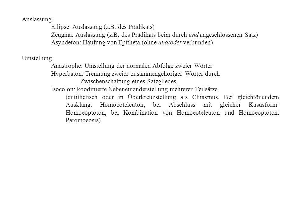 Auslassung Ellipse: Auslassung (z.B. des Prädikats) Zeugma: Auslassung (z.B. des Prädikats beim durch und angeschlossenen Satz) Asyndeton: Häufung von
