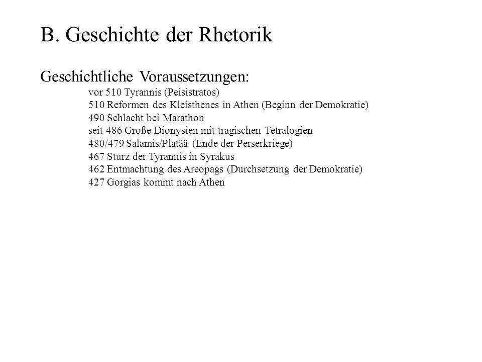 B. Geschichte der Rhetorik Geschichtliche Voraussetzungen: vor 510 Tyrannis (Peisistratos) 510 Reformen des Kleisthenes in Athen (Beginn der Demokrati