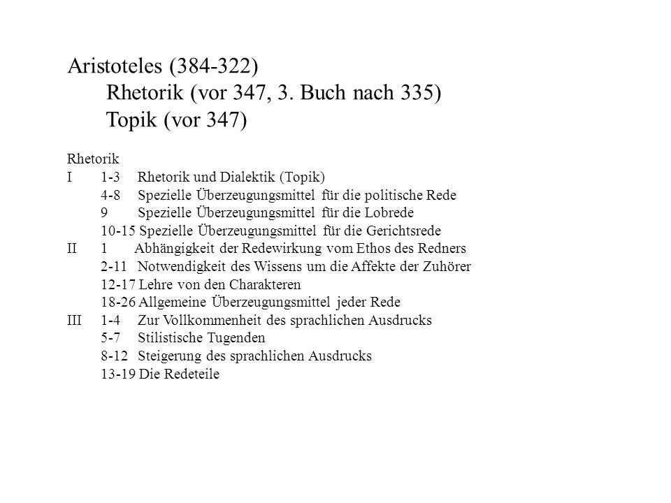 Aristoteles (384-322) Rhetorik (vor 347, 3. Buch nach 335) Topik (vor 347) Rhetorik I1-3 Rhetorik und Dialektik (Topik) 4-8 Spezielle Überzeugungsmitt
