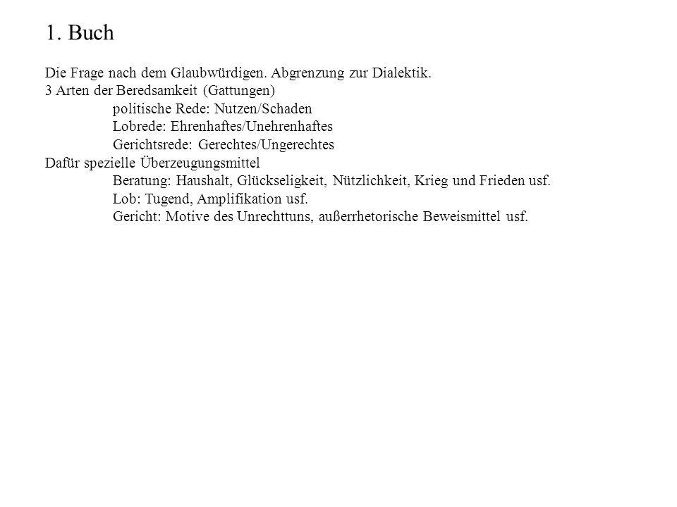 1. Buch Die Frage nach dem Glaubwürdigen. Abgrenzung zur Dialektik. 3 Arten der Beredsamkeit (Gattungen) politische Rede: Nutzen/Schaden Lobrede: Ehre