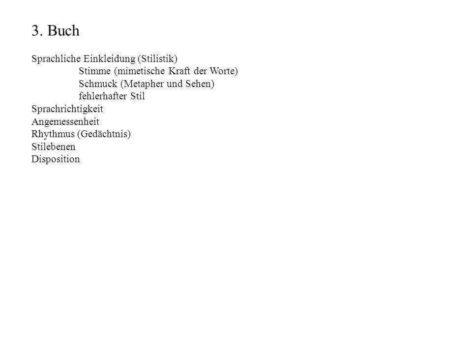3. Buch Sprachliche Einkleidung (Stilistik) Stimme (mimetische Kraft der Worte) Schmuck (Metapher und Sehen) fehlerhafter Stil Sprachrichtigkeit Angem
