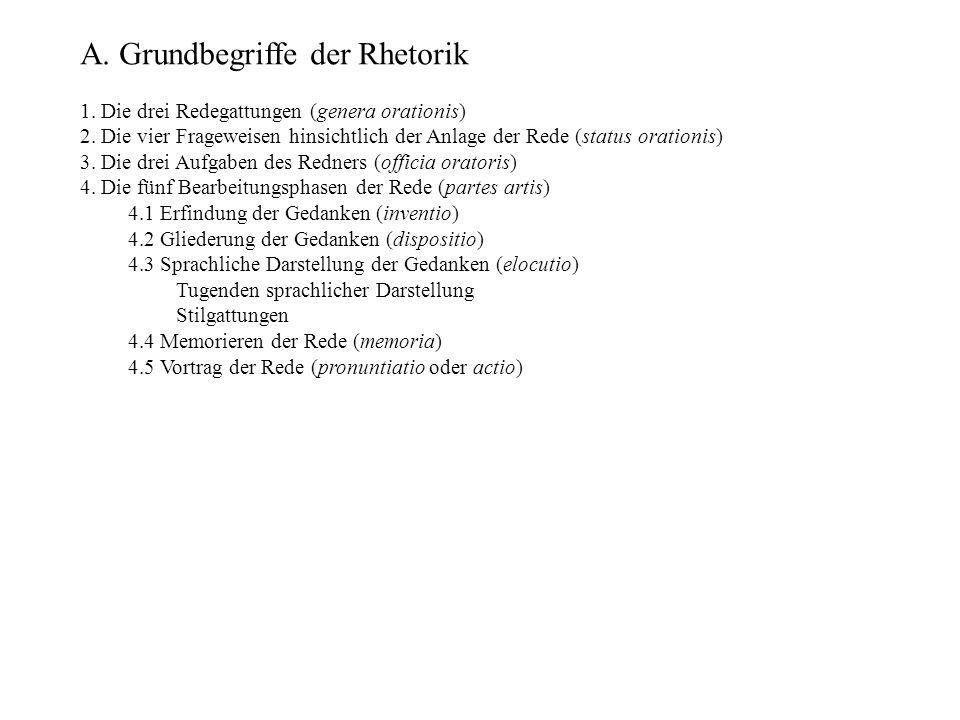A.Grundbegriffe der Rhetorik 1. Die drei Redegattungen (genera orationis) 2.