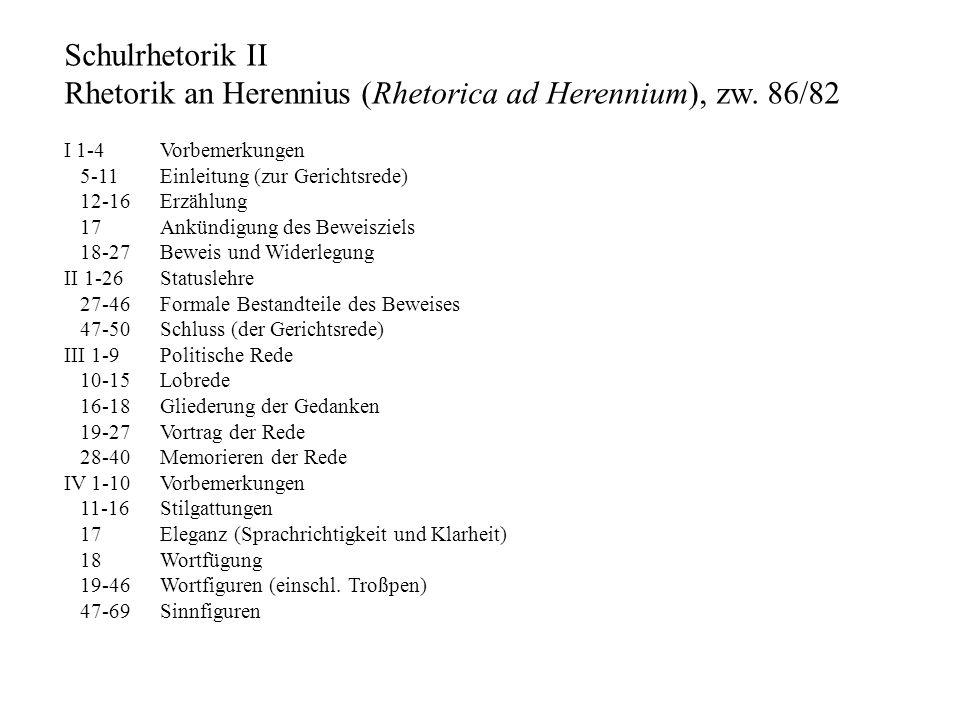 Schulrhetorik II Rhetorik an Herennius (Rhetorica ad Herennium), zw. 86/82 I 1-4 Vorbemerkungen 5-11 Einleitung (zur Gerichtsrede) 12-16 Erzählung 17