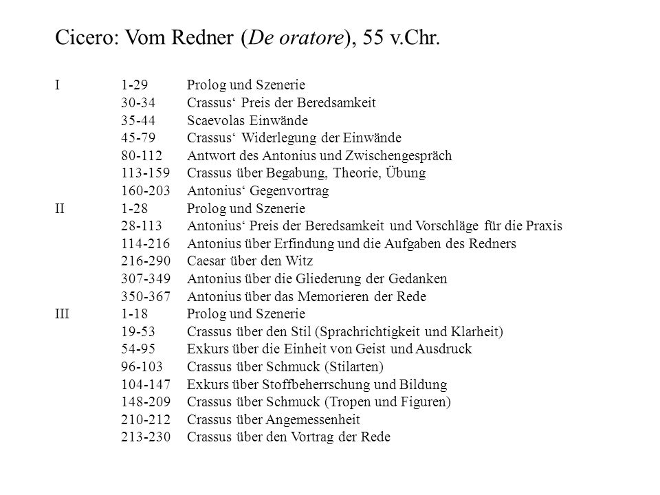 Cicero: Vom Redner (De oratore), 55 v.Chr. I1-29Prolog und Szenerie 30-34Crassus Preis der Beredsamkeit 35-44Scaevolas Einwände 45-79Crassus Widerlegu