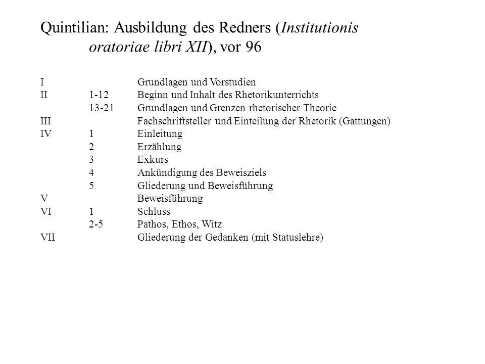 Quintilian: Ausbildung des Redners (Institutionis oratoriae libri XII), vor 96 IGrundlagen und Vorstudien II1-12Beginn und Inhalt des Rhetorikunterric