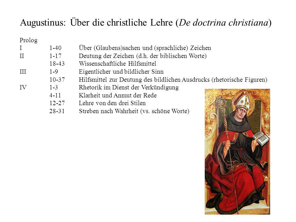 Augustinus: Über die christliche Lehre (De doctrina christiana) Prolog I 1-40Über (Glaubens)sachen und (sprachliche) Zeichen II 1-17Deutung der Zeiche