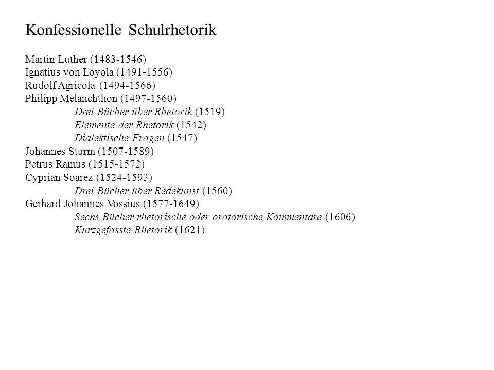 Konfessionelle Schulrhetorik Martin Luther (1483-1546) Ignatius von Loyola (1491-1556) Rudolf Agricola (1494-1566) Philipp Melanchthon (1497-1560) Drei Bücher über Rhetorik (1519) Elemente der Rhetorik (1542) Dialektische Fragen (1547) Johannes Sturm (1507-1589) Petrus Ramus (1515-1572) Cyprian Soarez (1524-1593) Drei Bücher über Redekunst (1560) Gerhard Johannes Vossius (1577-1649) Sechs Bücher rhetorische oder oratorische Kommentare (1606) Kurzgefasste Rhetorik (1621)