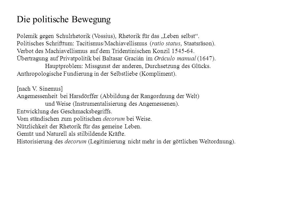 Die politische Bewegung Polemik gegen Schulrhetorik (Vossius), Rhetorik für das Leben selbst. Politisches Schrifttum: Tacitismus/Machiavellismus (rati