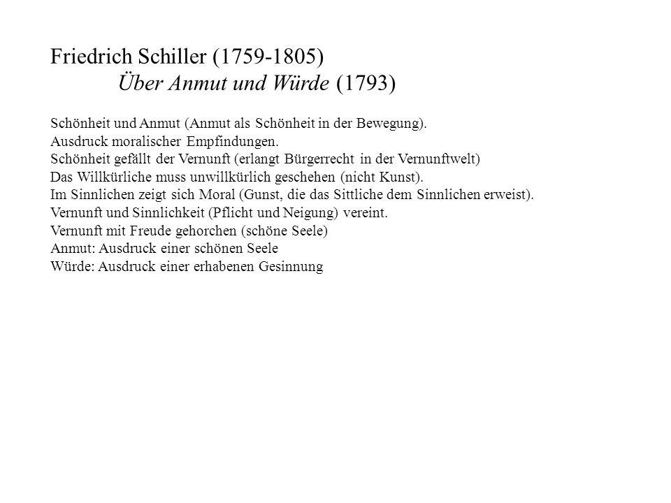 Friedrich Schiller (1759-1805) Über Anmut und Würde (1793) Schönheit und Anmut (Anmut als Schönheit in der Bewegung). Ausdruck moralischer Empfindunge