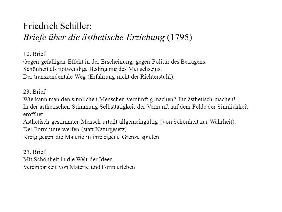 Friedrich Schiller: Briefe über die ästhetische Erziehung (1795) 10. Brief Gegen gefälligen Effekt in der Erscheinung, gegen Politur des Betragens. Sc