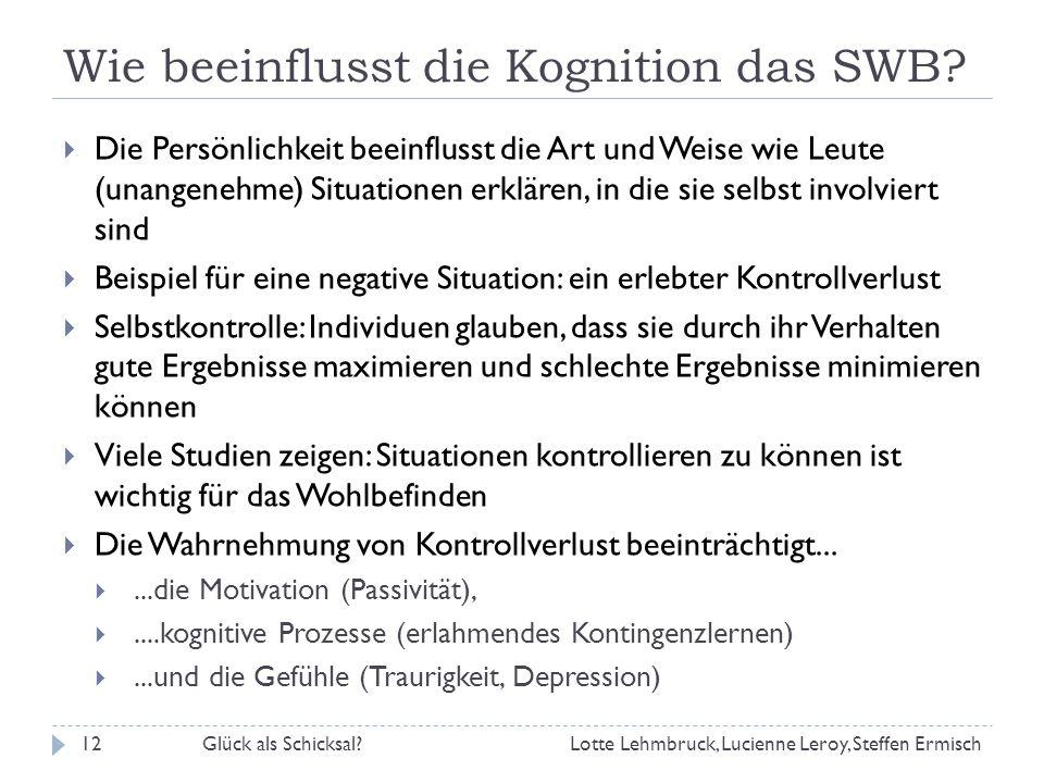 Wie beeinflusst die Kognition das SWB.
