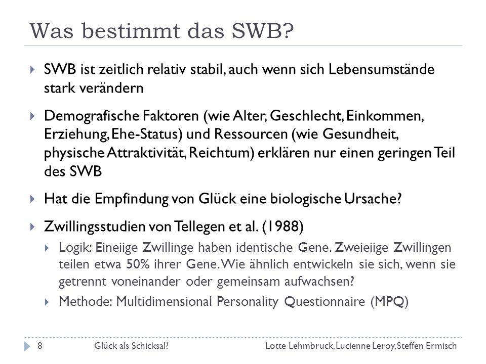 Was bestimmt das SWB.Glück als Schicksal?9 Ergebnis: Was erklärt die Varianz im SWB.